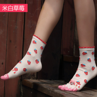 Cute cotton full in the system women's socks toe socks (White Strawberry)