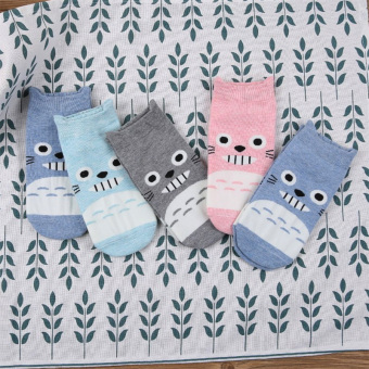 Cute cotton summer thin game socks (Three-dimensional Totoro 5 double loaded)