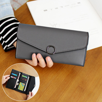Cute female Japanese and Korean style buckle leather wallet women's wallet (Hoop paragraph-gray)
