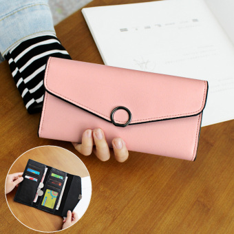 Cute female Japanese and Korean style buckle leather wallet women's wallet (Hoop paragraph-pink)