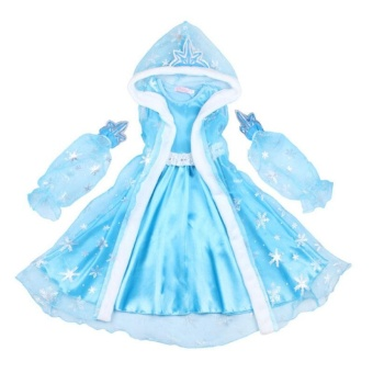 Cute Kids Girls Dress Long Sleeve Dress Cospllay Costume The SnowQueen Princess Party Birthday Dress T323 - intl