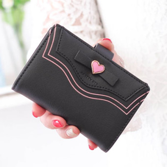 Cute New style women's small card holder business card clip (Black)