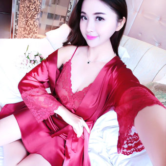 Cute viscose fibre lace nightgown home dress silk pajamas (035-wine red color)