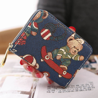 Cute Women's Bear card holder (Skateboard brother Blue)