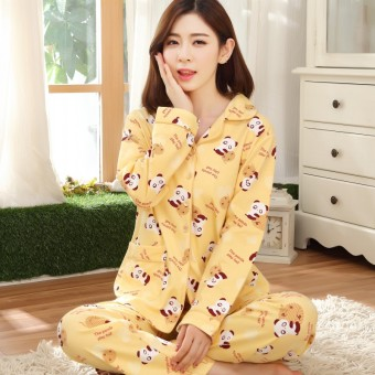 Cute women's Spring and Autumn cotton long-sleeved tracksuit pajamas (M8804-pure cotton)