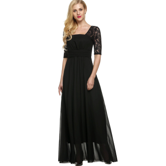 Cyber ANGVNS Elegant Women Square Neck Short Sleeve High Waist FullGown Lace Party Evening Dress (Black)