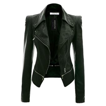 Cyber ANGVNS Stylish Ladies Women's Faux Leather Power Shoulder Coat Jacket ( Amy Green )
