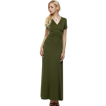 Cyber ANGVNS Women Designer Crossover Short Sleeve Wrap Chest TunicMaxi Full Gown Dress (Green) - intl