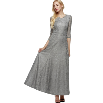 Cyber ANGVNS Women Lace 2/3 Sleeve Bridesmaid Homecoming Long Gown Maxi Cocktail Party Evening Fromal Dress (Grey)
