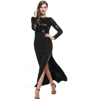 Cyber ANGVNS Women Long Sleeve Backless Side Slit Sequin EveningDress Full Gown
