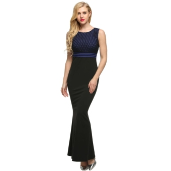 Cyber Angvns Women Sleeveless Bodycon Patchwork Party Cocktail Evening Long Maxi Dress Full Gown (Blue)