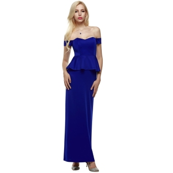 Cyber ANGVNS Women Strapless Drop Shoulder Peplum Maxi EveningFormal Dress Party Cocktail Long Gown (Blue)