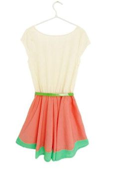 Cyber Colorful Stripe Party Mini Dress With Belt (Multicolor) - picture 2