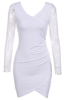Cyber Fashion Lace Splicing Long Sleeve Dress ( White ) - picture 2