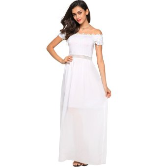 Cyber Finejo Women Fashion Strapless Off Shoulder Short Sleeve Lace Fringe Patchwork Solid Maxi Long Dress (White)