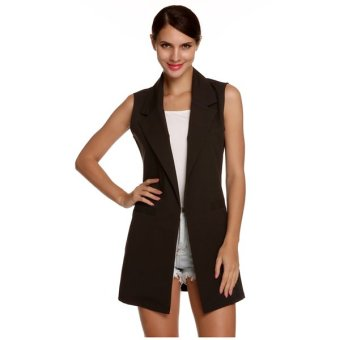 Cyber Meaneor Stylish Ladies Women Casual Sleeveless Lapel Pocket Solid Vest Coat Long Jacket Waistcoat Cardigan