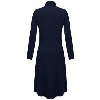 Cyber Meaneor Women Long Sleeve Open Front Solid Long CardiganCoat(navy blue) - 3