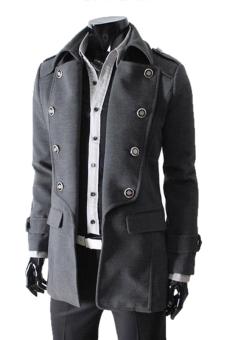 Cyber Men's Winter Style Double-breasted Woolen Blends Parka coat ( Grey )