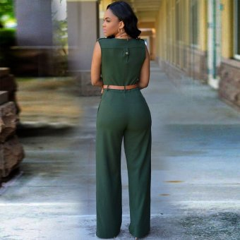 Cyber Sexy Women V-neck Sleeveless Casual Party Jumpsuit Romper Playsuit ( Amy Green ) - 2