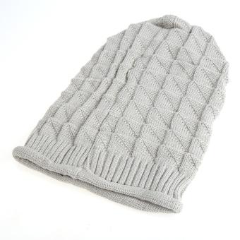 Cyber Unisex Wool Winter Crochet Knit Beanie Skull cap Hat(Gray) - picture 2