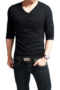 Cyber V-Neck Men's Long Sleeve Casual T-Shirt Tops (Black)