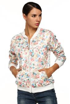 Cyber Women Casual Floral Zipper Closure Jacket (White)