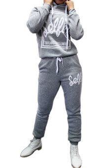 Cyber Women Casual Long Sleeve Hoodie Letter Pattern Top Blouse and Pant Set (Grey)