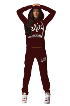 Cyber Women Casual Long Sleeve Hoodie Letter Pattern Top Blouse andPant Set (Wine Red)