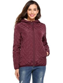 Cyber Women Hooded Light Weight Winter Down Jacket Short Slim Coat With Fleece Lining ( Wine Red ) - intl