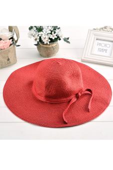 Cyber Women Hot Big Wide Brim Beach Sun Cap Straw Weave Hat Sun Hat ( Red )