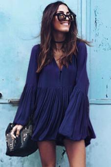 Cyber Women Loose Pleated Mini Dress (Dark Blue)