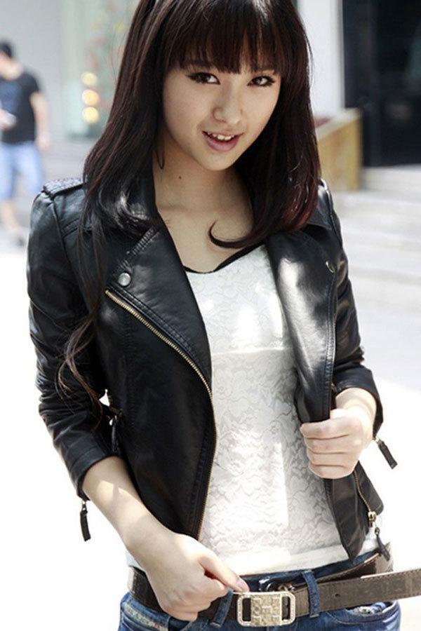 Cyber Women Motorcycle Leather Jackets Short Outerwear Coat (Black ...