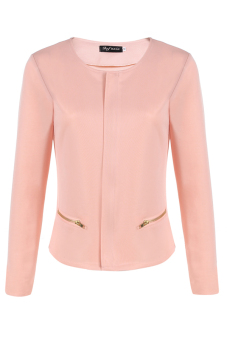 Cyber Women O-Neck Zipper Long Sleeve Top Base Women's Jacket Coat ( Pink ) - picture 2