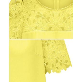 Cyber Women'S Lace Sleeve Splicing Chiffon Casual Shirt Tops Blouse (Yellow) - 5