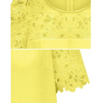 Cyber Women'S Lace Sleeve Splicing Chiffon Casual Shirt Tops Blouse (Yellow) - 4