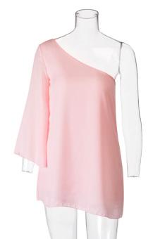 Cyber Women's Oblique Collar One Shoulder Loose Chiffon Mini Dress - picture 2