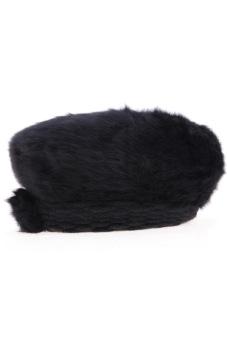 Cyber Women'S Winter Warm Knitted Real Fur Hats Beanie Cap (Black)