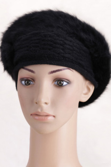 Cyber Women'S Winter Warm Knitted Real Fur Hats Beanie Cap (Black) - picture 2