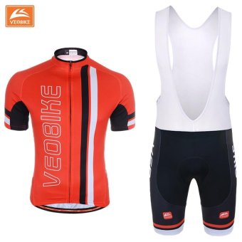 Cycling Jersey Set MTB Bike Clothing Racing Bicycle Clothes Uniforms(Red) - intl
