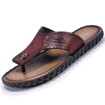 CYOU Cow Suede Flip Flops Mens Genuine Leather Sandals Light Beach Slipper Men Summer Shoes Sandals (Burgundy) - intl