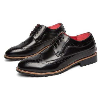 CYOU Fashion Mens Formal Shoes Brogue Casual Leather Shoes (Black) - intl - 3