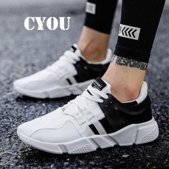 CYOU New Arrival Mens Sports Shoes Running Profesional Jogging Athletic Shoes Breathable Mens Trainers Brand New Runners Men Kasut Lelaki (Black and White) - intl