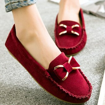 D82 New Women's Classical Driving Peas Rubber Sole Casual Cross Suede Loafer Shoes Color Wine Red - 2