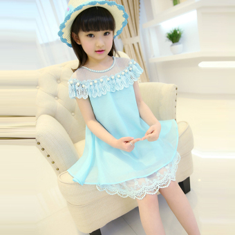 Dada Warwa children's short sleeved princess dress girls dress (Blue)