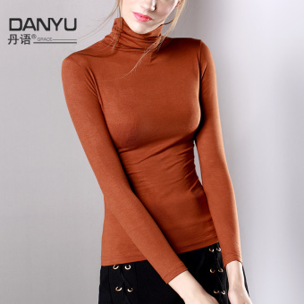 Danyu modal female Slim fit long-sleeved shirt base shirt (Caramel Color)