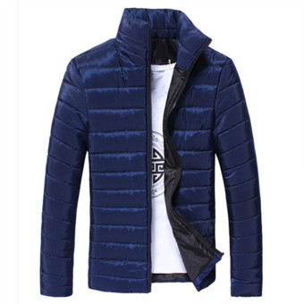 Dark Blue 2017 Winter Duck Down Jacket Ultra Men Solid Coat DownParkas Fashion Mens Jackets Down Stand Collar Feather OuterwearCoat Large Size 3XL - intl