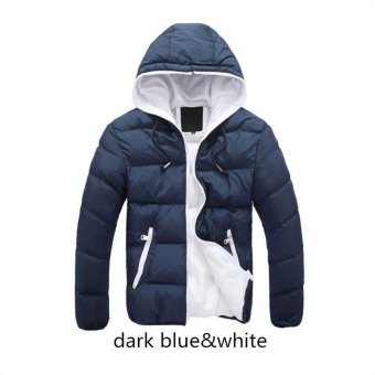 dark blue white Men Down Jacket Splice 2017 NEW Arrived Autumn Winter Down Jacket Hooded Winter Jacket for Men Fashion Mens Joint Outerwear Coat Plus Size - intl