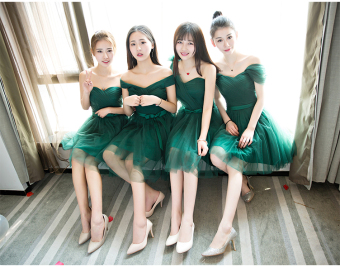 Dark green color New style bridesmaid dress (3-boob tube top long)