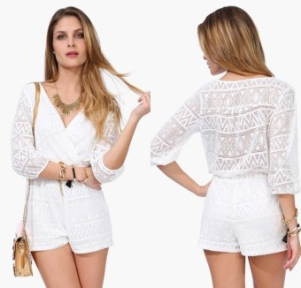 Deep V-Neck 3/4 Sleeve White Causal Jumpsuit Romper Casual Beach L1068