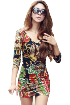 Deep V-neck Long Sleeve Flower Print Mini Dress (Multicolor)